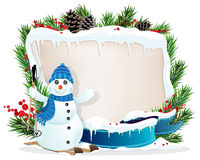Funny Snowman and Christmas wreath Royalty Free Stock Photos