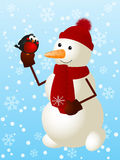 Funny snowman. With cute bullfinch Stock Photos