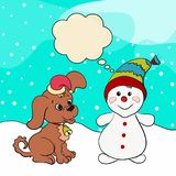 Funny snowman and cute puppy in a Christmas cap.  Stock Photos