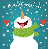 Funny snowman enjoying the snowflakes. Christmas card illustration Royalty Free Stock Image