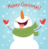 Funny snowman enjoying the snowflakes. Christmas card illustration Royalty Free Stock Photo