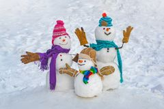 Funny snowman family in stylish hat and scarf on snowy field. Happy winter time. Happy funny snowman in the snow. Happy stock images