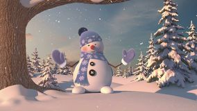 Funny Snowman in the Forest. Beautiful 3d animation, 4K.  royalty free illustration