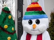 Funny snowman and green Christmas tree Royalty Free Stock Photos