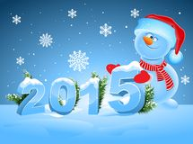 Funny snowman greeting 2015. Illustration in vector format Royalty Free Stock Images