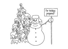 Funny snowman hand drawn cartoon style near a Christmas tree waiting for the onset of the holiday. Stock Photography