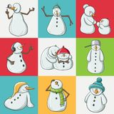 Funny snowman illustration in colorful square pattern for Christmas and December. Funny snowman illustration in colorful square pattern. Different characters Royalty Free Stock Images
