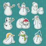 Funny snowman illustration stickers for Christmas and December holiday season. Funny snowman illustration stickers. Different characters with different emotions Royalty Free Stock Photos