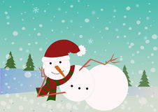Funny snowman lie and  smiles on the snowy background with trees. Stock Photos