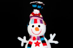 Funny snowman made of wool Stock Photo