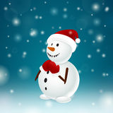 Funny snowman with mittens Royalty Free Stock Image