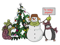 Funny snowman and penguin hand drawn cartoon style near a Christmas tree waiting for the onset of the holiday. Royalty Free Stock Images