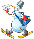 Funny snowman-postman Royalty Free Stock Image