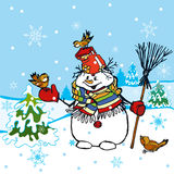 Funny Snowman Scene. Editable vector illustration Stock Photography