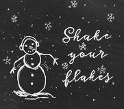 Funny snowman sketch. On chalkboard Royalty Free Stock Photography