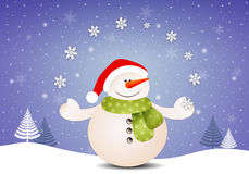 Funny snowman with snowflakes Royalty Free Stock Photos