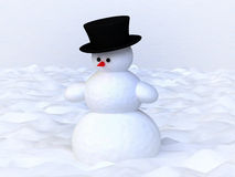 Funny Snowman on Snowy Field Royalty Free Stock Photography