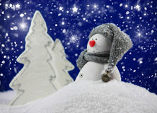Funny snowman. In snowy landscape with snow fall in starry night Royalty Free Stock Image