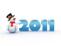 Funny snowman standing by the 2011 numbers. Isolated greeting card / illustration concept Vector Illustration