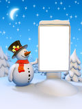 Funny snowman standing by the blank citylight Stock Photo