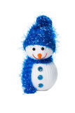 Funny snowman toy isolated on the white backgroung Royalty Free Stock Images