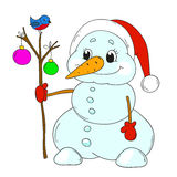 Funny snowman with toys. Cartoon character snowman isolated.  Royalty Free Stock Photos