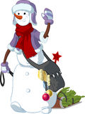 Funny Snowman walking the New Year character Stock Image