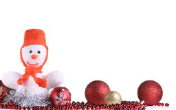 Funny snowman at the white background Stock Photography