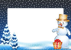 Funny snowman. Winter photo frame. Stock Photography