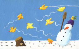 Funny snowman and yellow bird Royalty Free Stock Photography