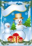 Funny snowmans. Winter vector  illustration Stock Photo