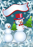 Funny snowmans. Royalty Free Stock Image