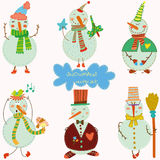 Funny snowmans. Cartoon  set.EPS10 Stock Image