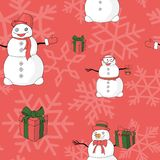 Funny snowmans, giftboxes and snowflakes vector pattern royalty free illustration
