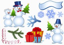 Funny snowmans. Set. Stock Image