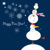 Funny Snowmen. Funny dancing snowmen on a dark blue background with snowflakes Stock Photography