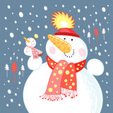 Funny snowmen. Large and small snowmen on a blue background with snow and Christmas trees Royalty Free Stock Image
