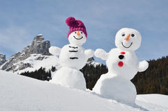Funny snowmen Royalty Free Stock Photo