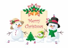 Funny snowmen christmas background. Christmas greeting card with the image of snowman. Vector background Stock Photo
