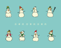 Funny snowmen. A collection of eight cute cartoon snowmen on a turqouise background Royalty Free Stock Photo