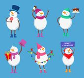 Funny snowmen in different action poses. Cute winter characters for christmas happy holidays Stock Photo