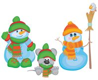 Funny snowmen and mouse. Royalty Free Stock Photos