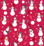 Funny snowmen s with buckets, boots, gloves, carrots and fir branches. In gray, white, orange, green and pink a seamless pattern on a purple background Royalty Free Stock Photography