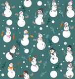 Funny snowmen s with buckets, boots, gloves, carrots and fir branches. In gray, white, orange, green and pink a seamless pattern on a green background Stock Images
