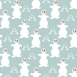 Funny snowmen. Seamless winter background with silhouettes of snowmen and trees Stock Images