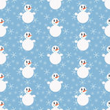Funny snowmen. Seamless winter pattern with silhouettes of snowmen and abstract snowflakes Stock Images