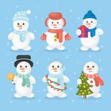 Funny snowmen set. Snowmen in different outfits like hat and scarf with christmas tree Royalty Free Stock Photography
