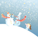 Funny snowmen. Funny snowman on background with snowflakes Royalty Free Stock Images