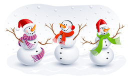Funny Snowmen. Vector illustration Royalty Free Stock Photo