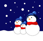 Funny Snowmens. Christmas card with picture of snowmen Royalty Free Stock Image